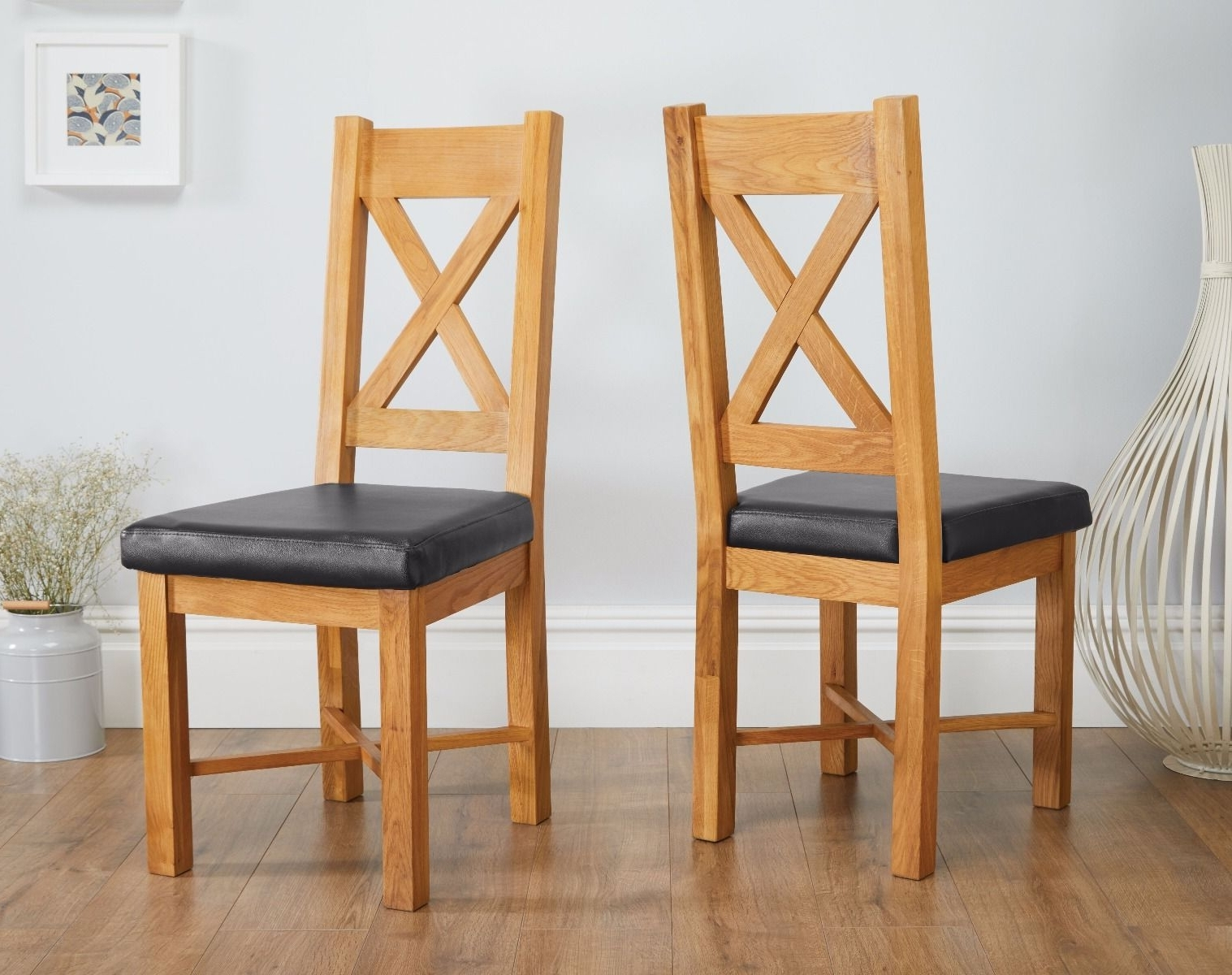 Oak Dining Chairs With Current Grasmere Oak Chair With Black Leather Seat (View 21 of 25)