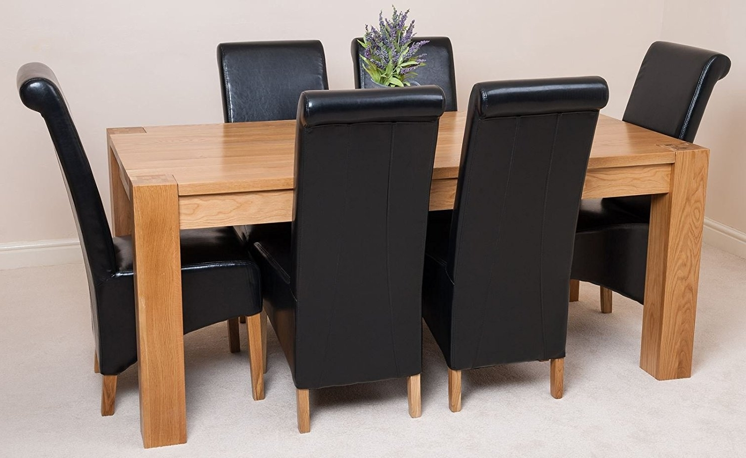 Oak Dining Set 6 Chairs Pertaining To Famous Oak Dining Table And Black Leather Chairs Chunky Oak Dining Table (View 13 of 25)