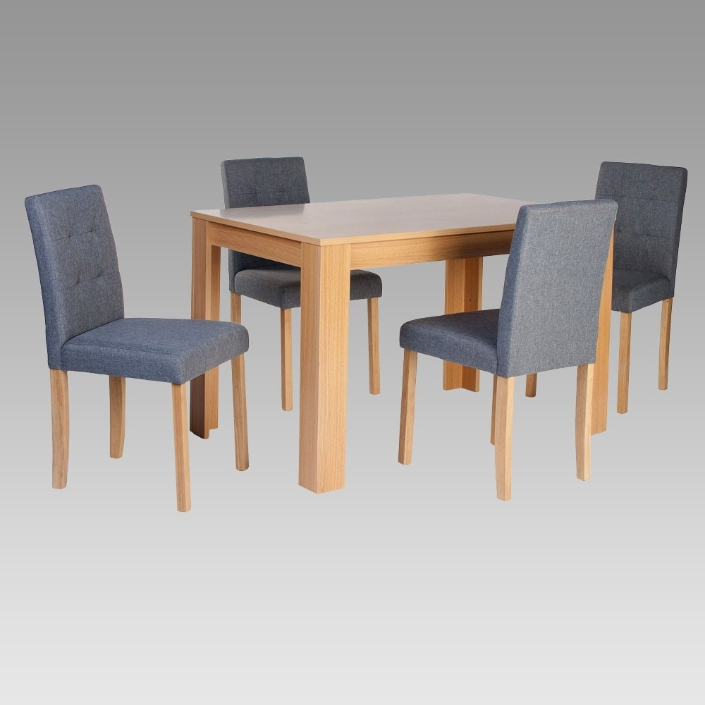Oak Dining Set With 4 Grey Fabric Chairs Modern White Dining Chairs Within Most Recently Released Oak Dining Tables And Fabric Chairs (View 12 of 25)