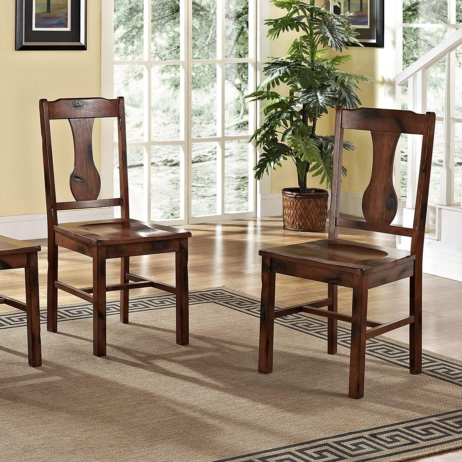 Oak Dining Sets Inside Preferred Amazon – Solid Wood Dark Oak Dining Chairs, Set Of 2 – Chairs (View 15 of 25)