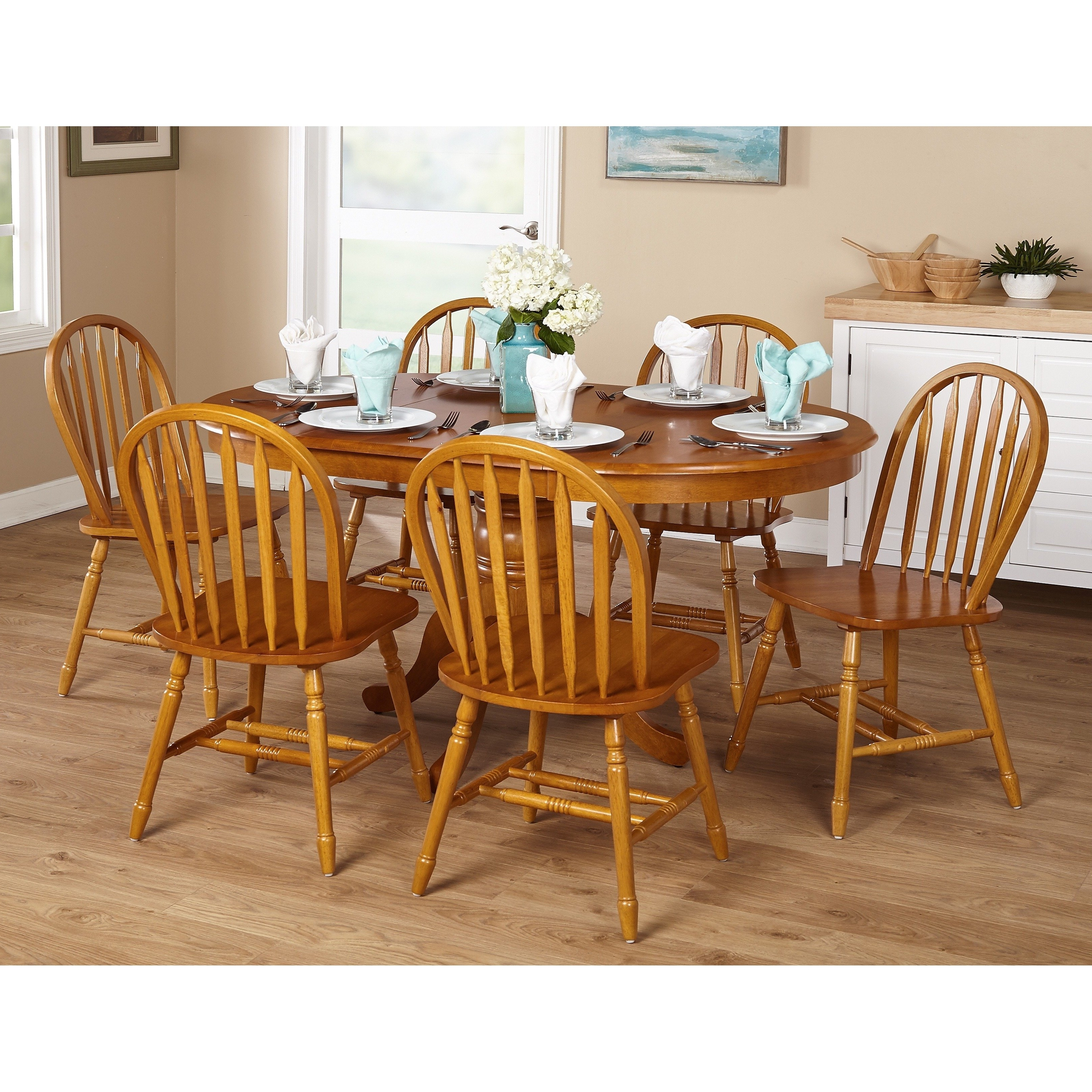 Oak Dining Sets Within Most Recent Shop Simple Living Farmhouse 5 Or 7 Piece Oak Dining Set – Free (View 19 of 25)