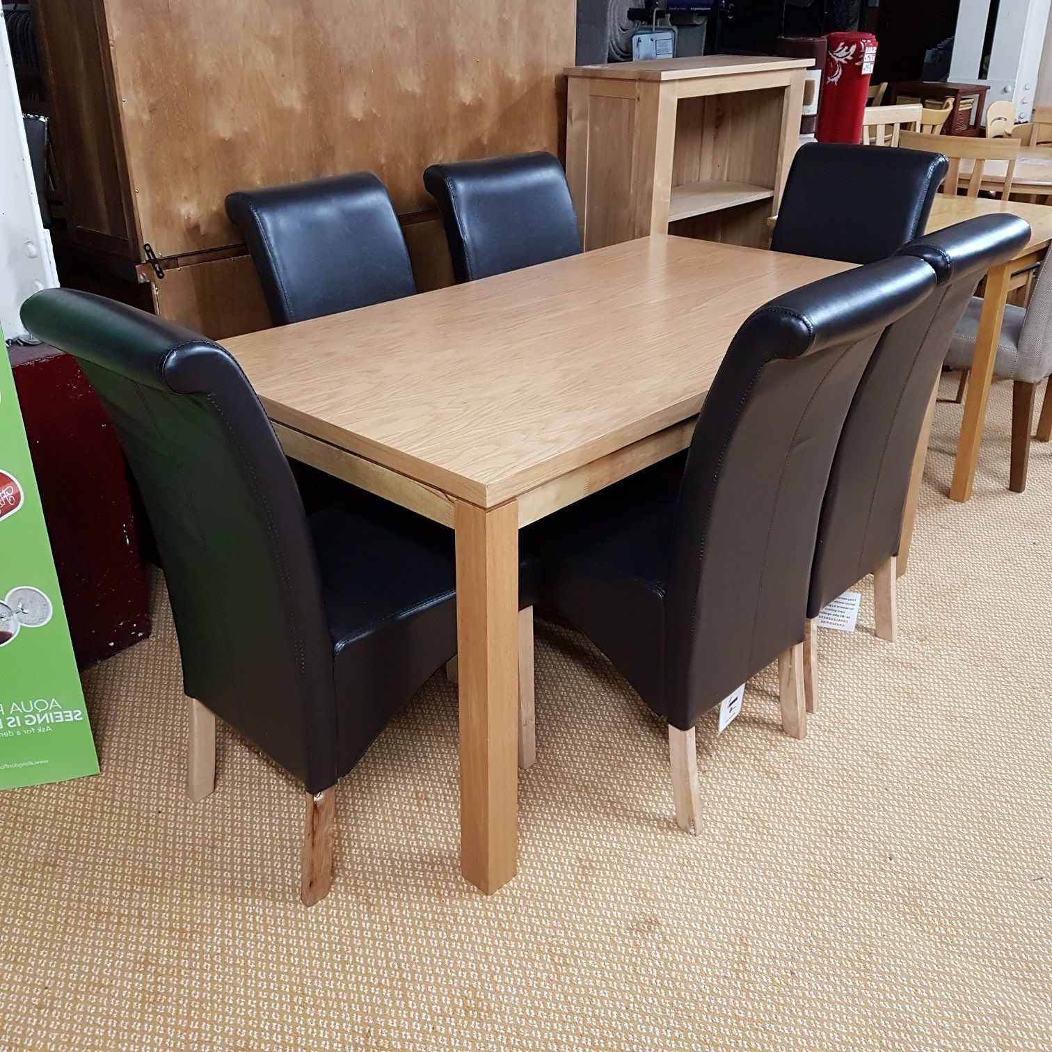 Oak Dining Table & 6 Faux Leather Chairs For Newest Oak Dining Tables And Leather Chairs (View 11 of 25)