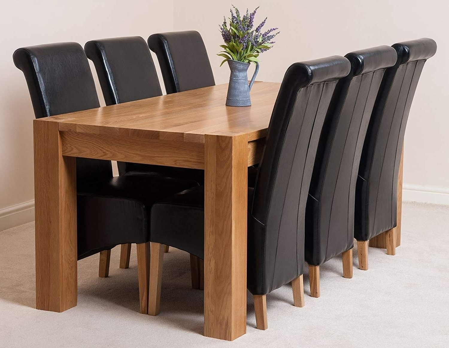 Oak Dining Tables 8 Chairs Inside Most Recently Released Modern Furniture Direct Kuba Chunky 180Cm Kitchen Solid Oak Dining (View 21 of 25)