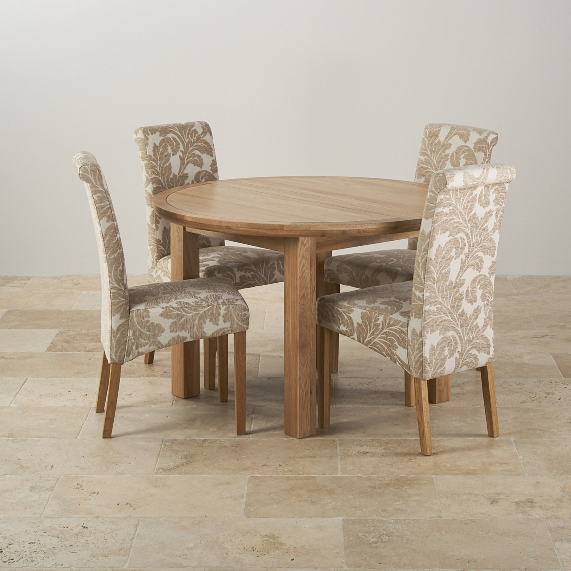Oak Dining Tables And Chairs For Famous Solid Oak Extending Dining Table And Chairs Set Ivory Metal Leg (View 17 of 25)