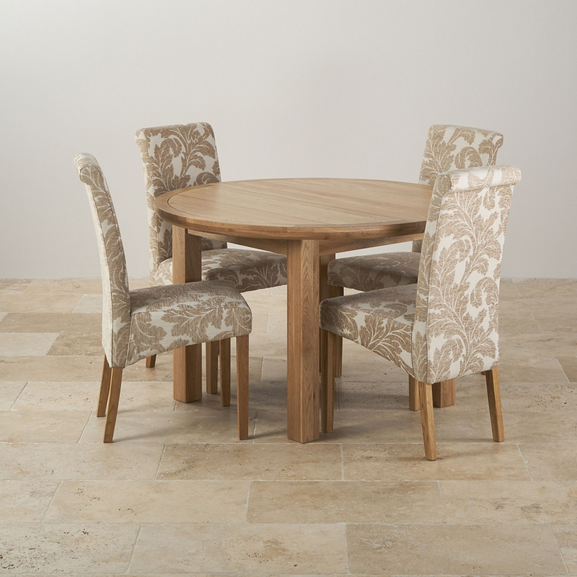 Oak Dining Tables And Fabric Chairs For Preferred Knightsbridge Natural Oak Dining Set – 4Ft Round Extending Table &  (View 11 of 25)