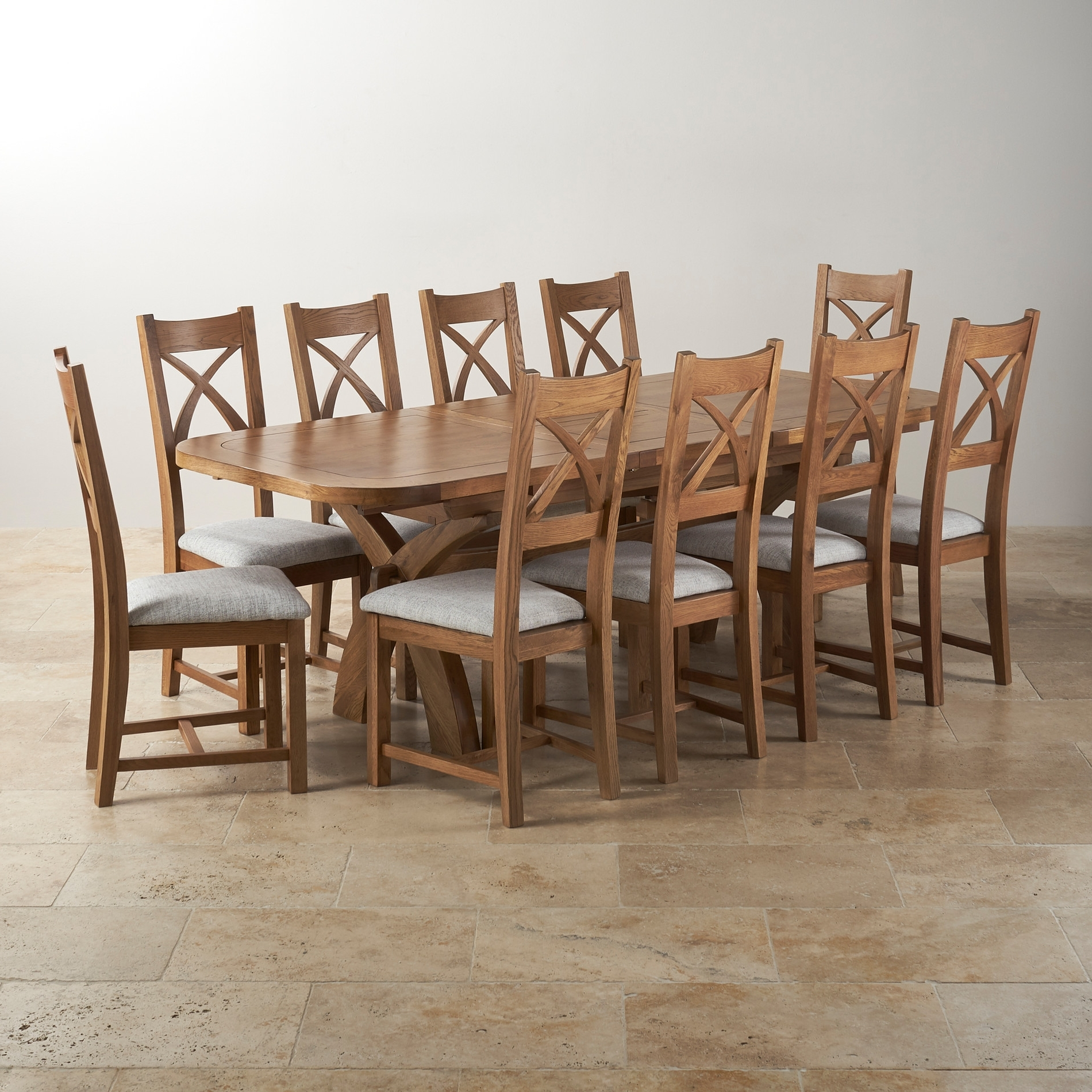 Oak Dining Tables And Fabric Chairs In Preferred Hercules Dining Set In Rustic Oak – Extending Table + 10 Chairs (View 14 of 25)