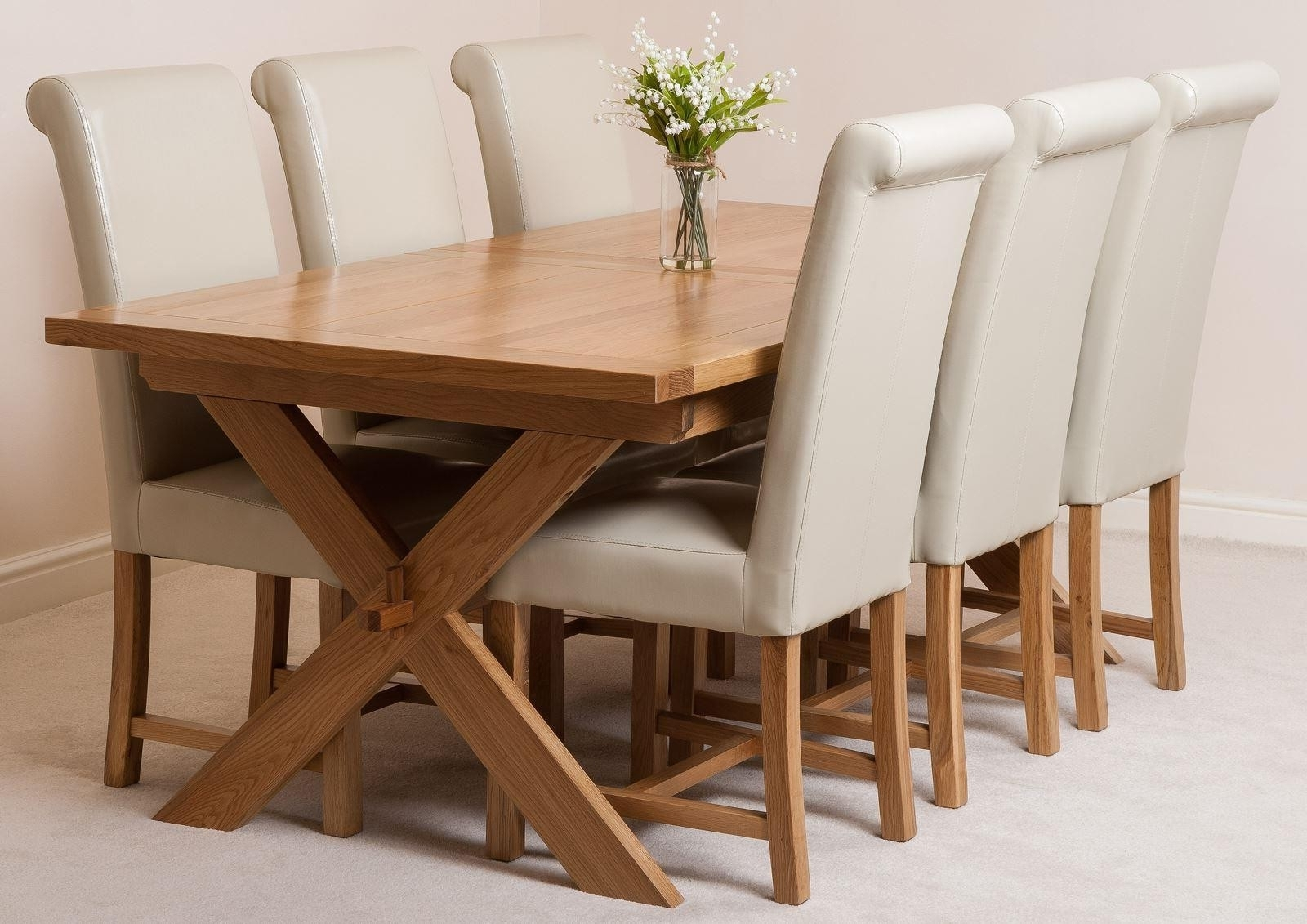 Oak Dining Tables And Fabric Chairs Intended For Preferred Vermont Dining Set With 6 Ivory Chairs (View 14 of 25)