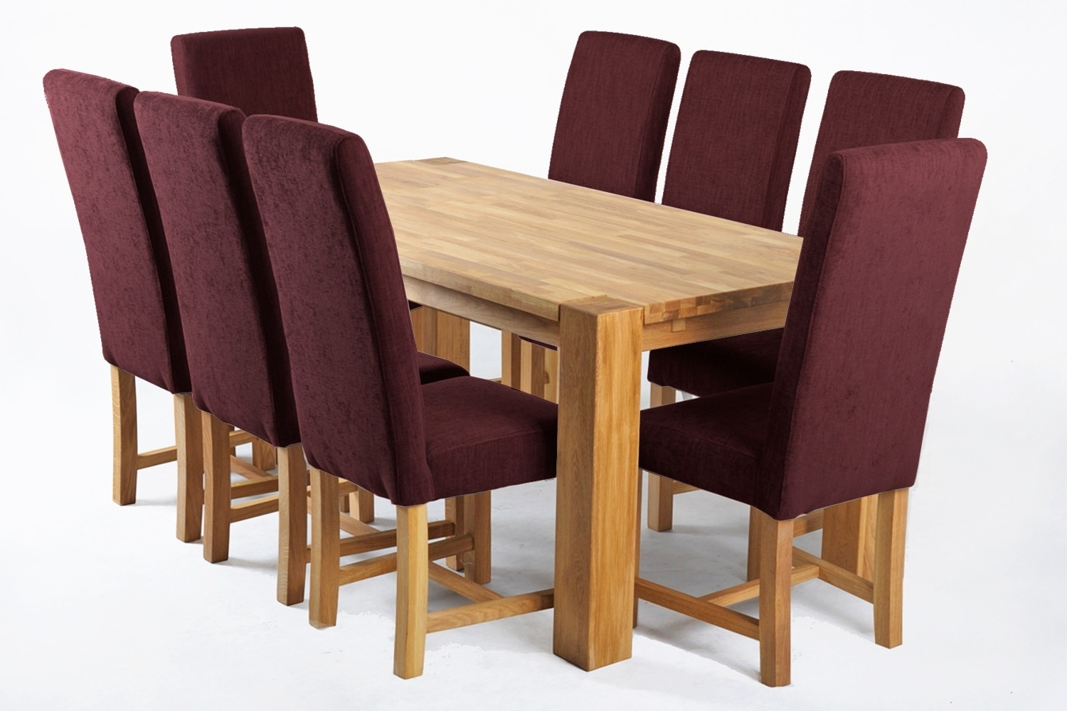 Oak Dining Tables And Fabric Chairs Throughout Famous Kensington Fabric Dining Chair With Massive Oak Legs – Vino (View 17 of 25)