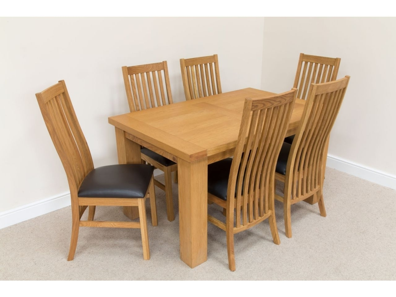 Oak Dining Tables And Leather Chairs For Well Liked Oak Dinette Sets Rigset 222 Riga 14 M Dining Table Set 6 Lichfield (View 12 of 25)