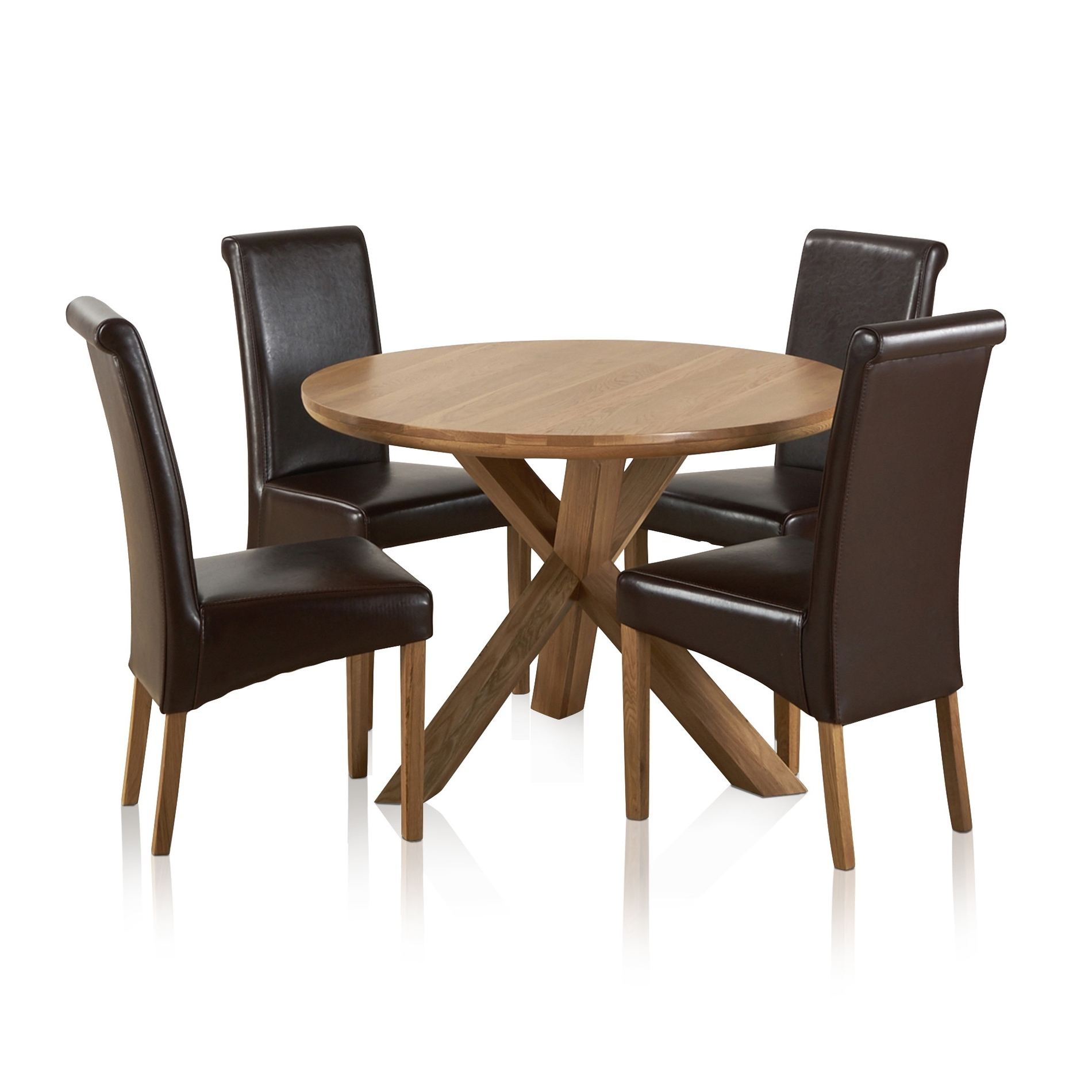 Oak Dining Tables And Leather Chairs In Latest Natural Real Oak Dining Set: Round Table + 4 Brown Leather Chairs (View 13 of 25)