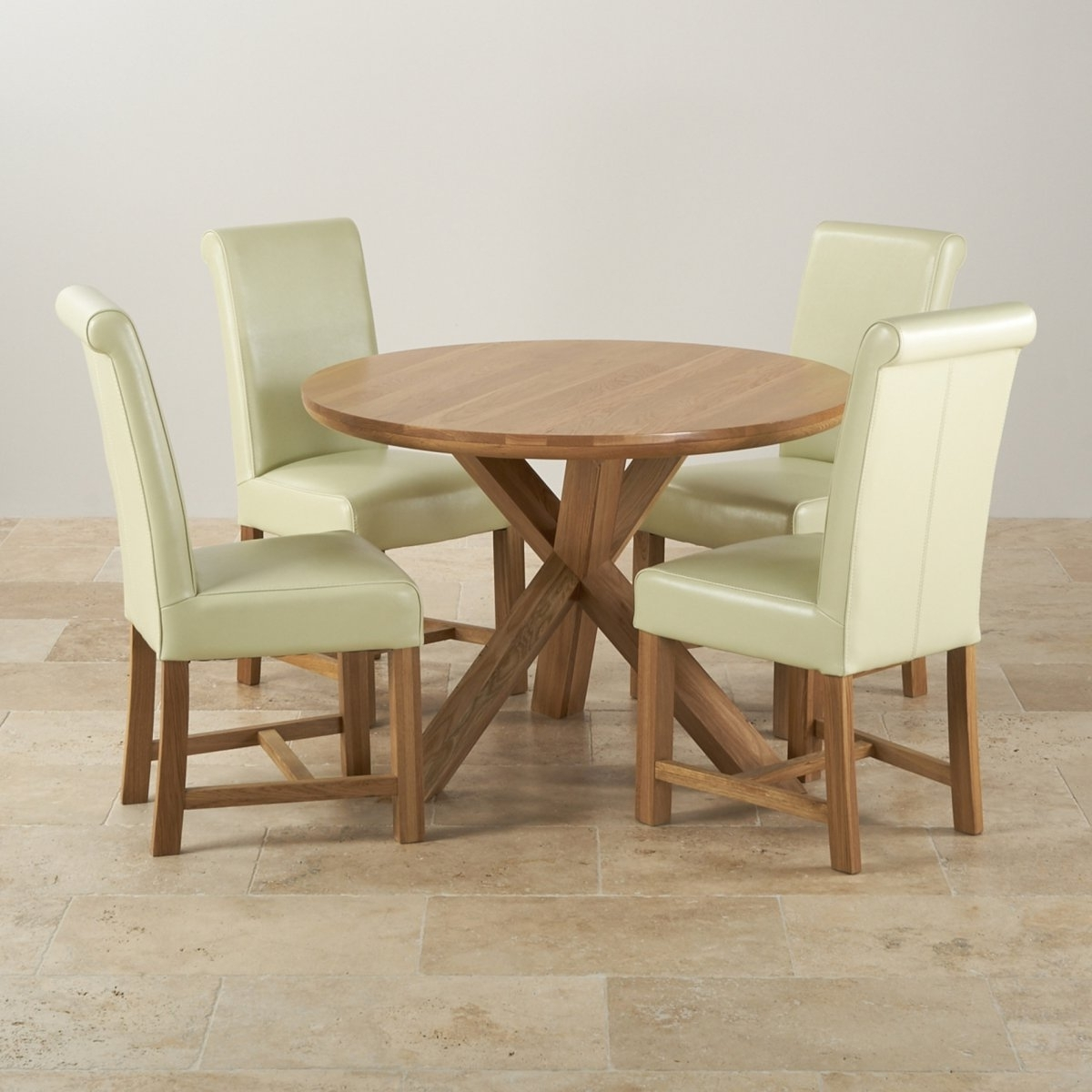 Oak Dining Tables And Leather Chairs Pertaining To Best And Newest Natural Oak Round Dining Set Table 4 Cream Leather Chairs High End (View 16 of 25)