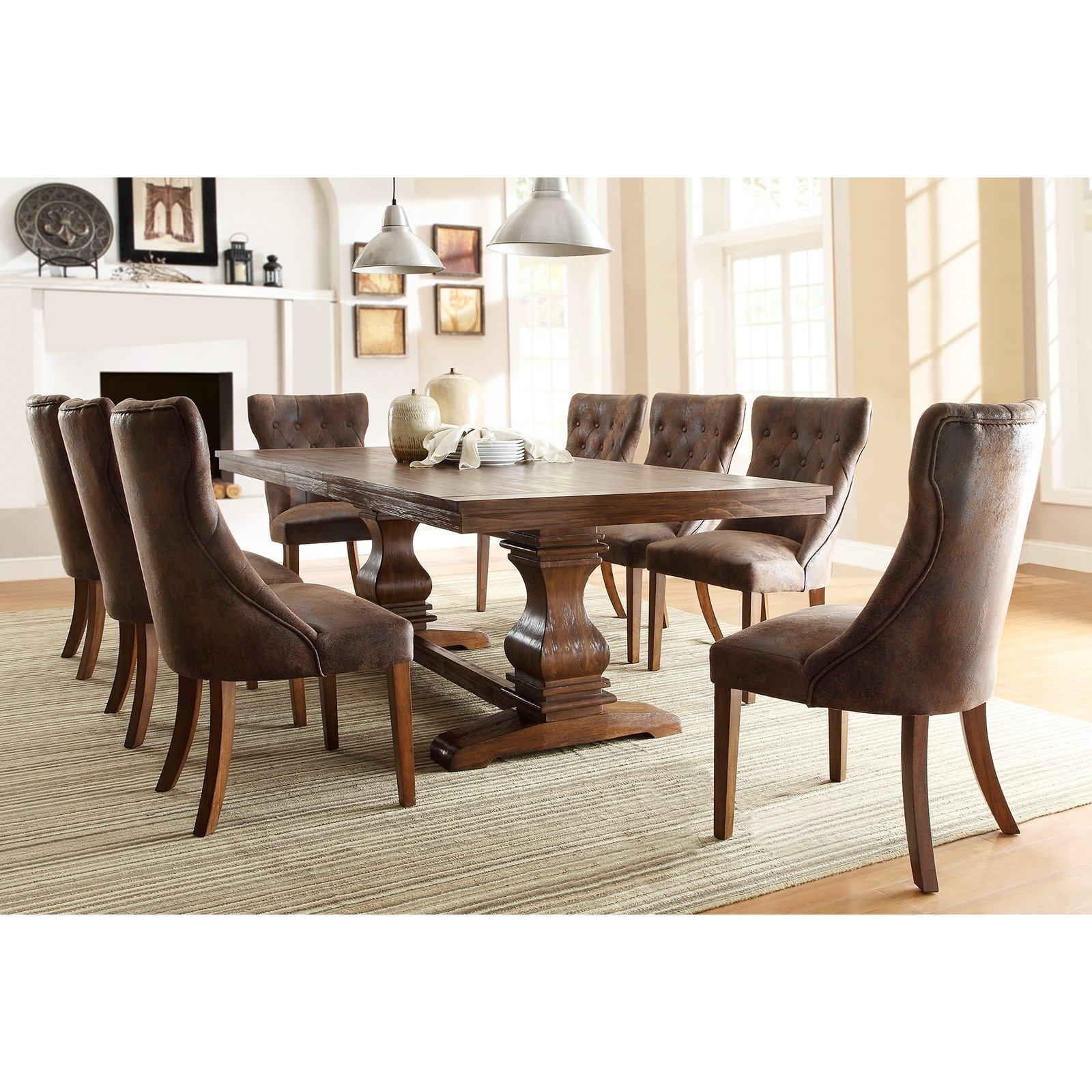 Oak Dining Tables Sets Inside Most Recent Weston Home Marie Louise 9 Piece Expandable Trestle Dining Table Set (View 24 of 25)