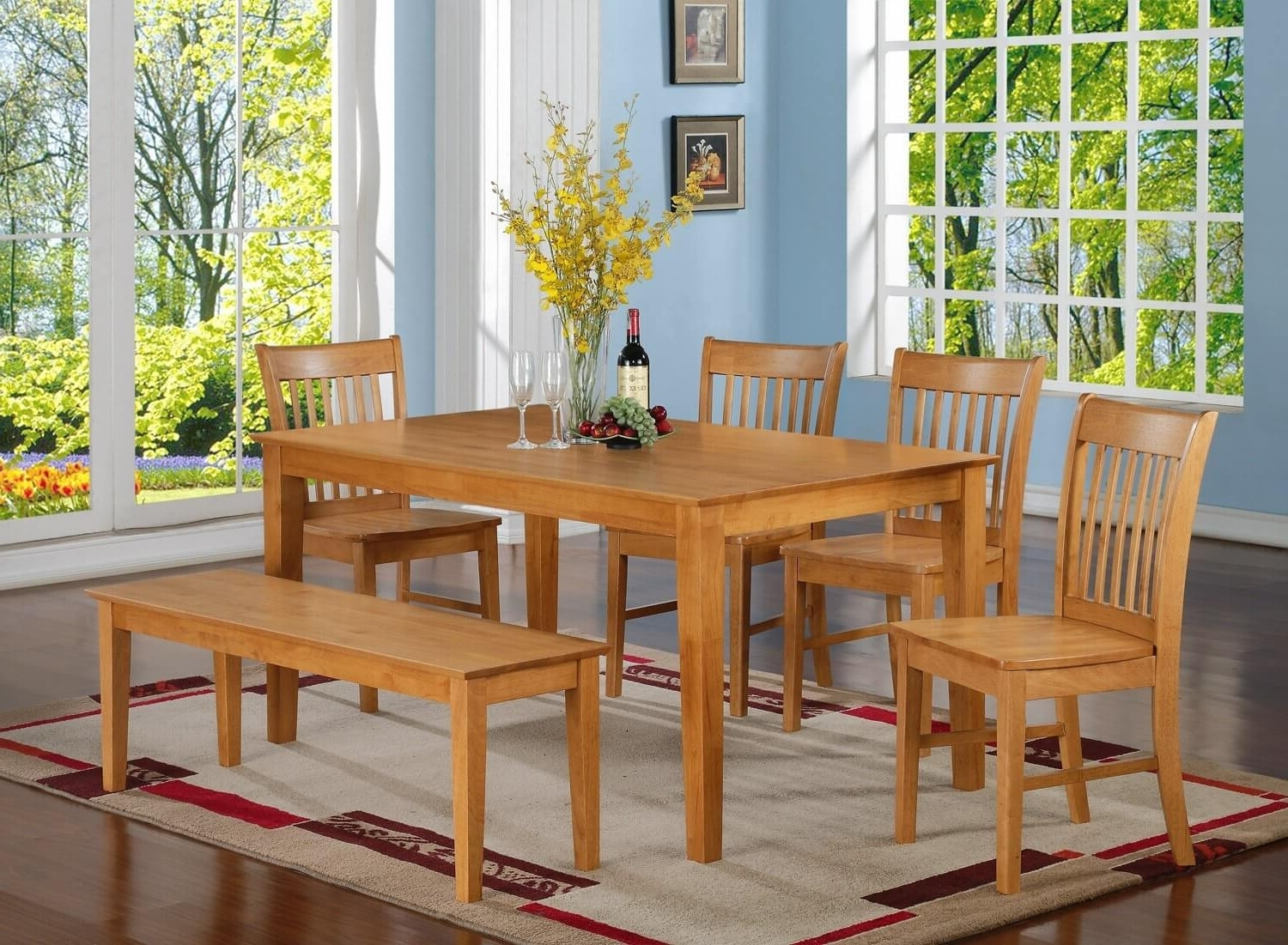 Oak Dining Tables Sets Intended For Fashionable 26 Dining Room Sets (Big And Small) With Bench Seating (2018) (View 18 of 25)