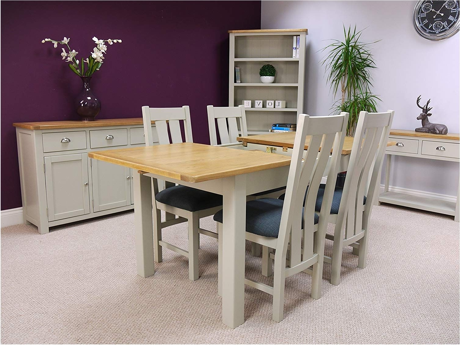 Oak Extendable Dining Tables And Chairs With Popular Stunning Aspen Painted Oak Sage Grey Extending Dining Table And  (View 11 of 25)