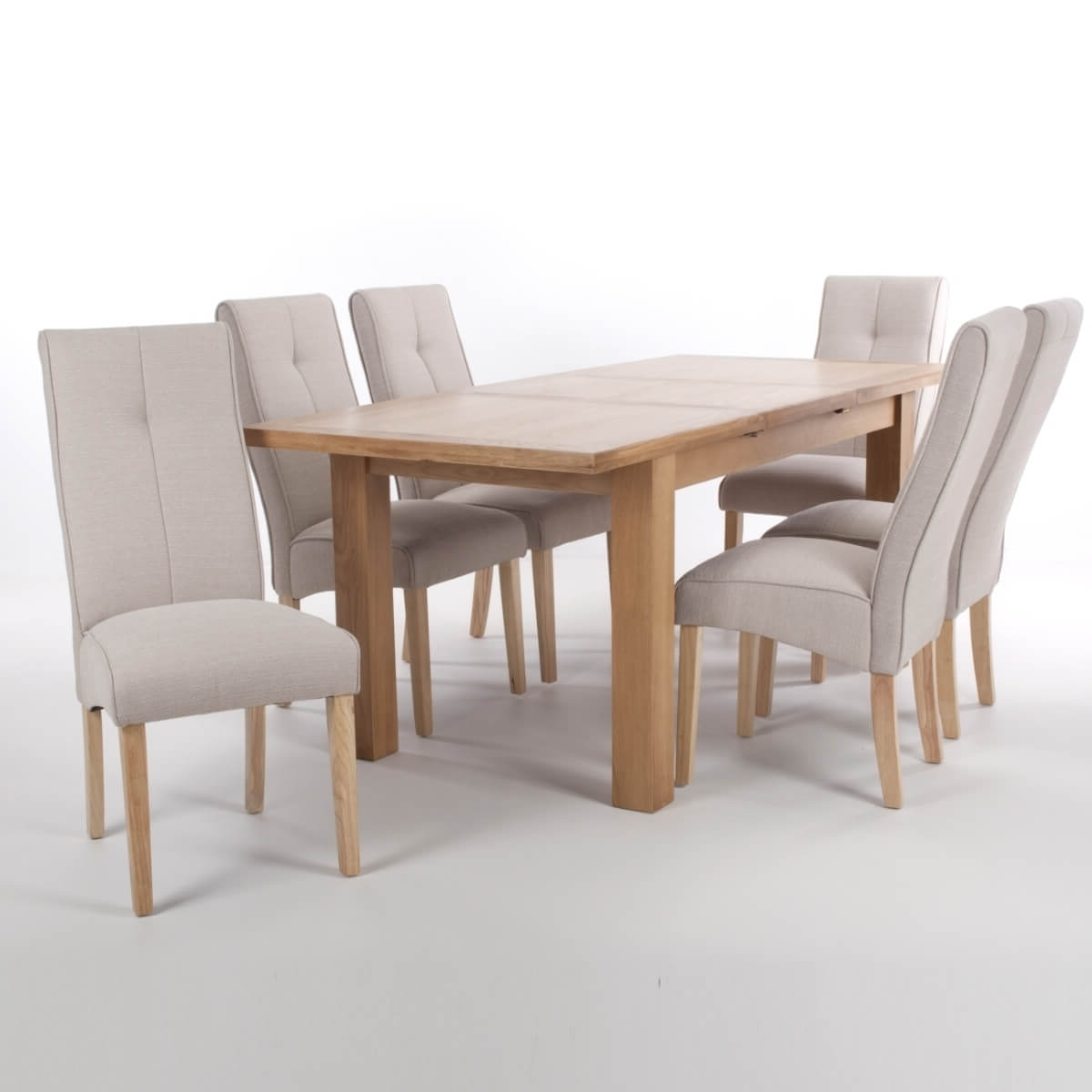 Oak Extending Dining Sets Inside Most Up To Date Dining Set – Solid Oak Extending Dining Table And 6 Linea Cream (View 23 of 25)