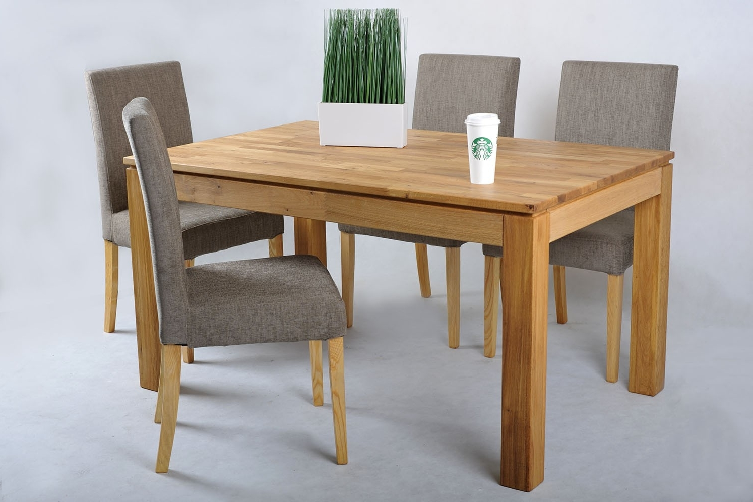 Oak Extending Dining Table And Fabric Chairs Set (View 18 of 25)