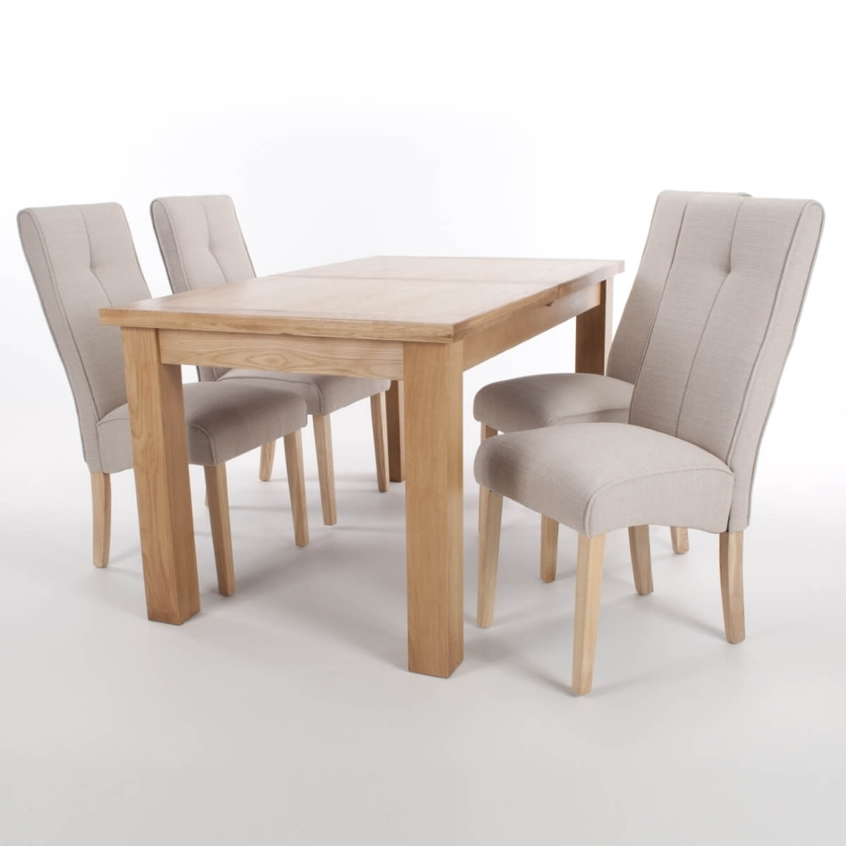 Oak Extending Dining Tables And 4 Chairs With Regard To 2018 Dining Set – Solid Oak Extending Dining Table And 4 Linea Cream (View 25 of 25)