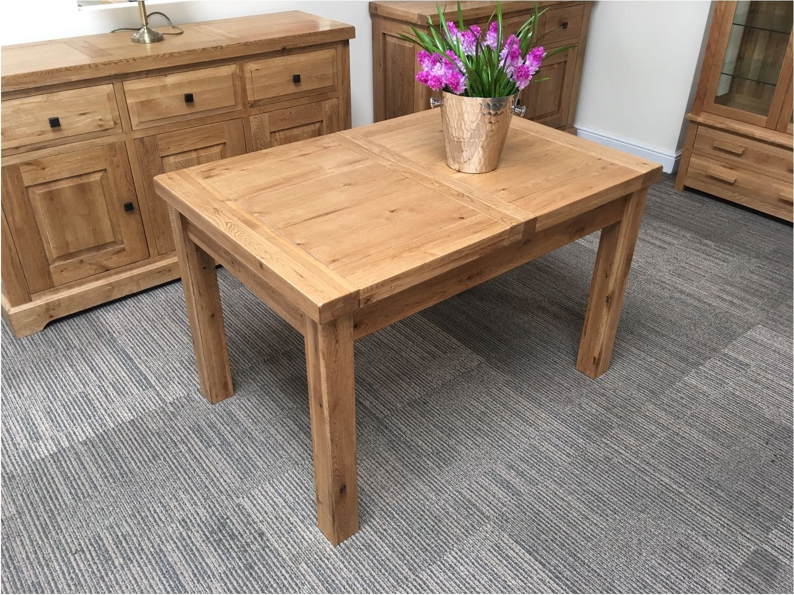 Oak Extending Dining Tables Sets Intended For Famous Nice Oxford Solid Oak Extending Dining Table Oak Furniture – Keller (View 11 of 25)