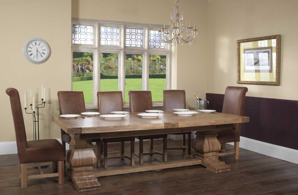 Oak Extending Dining Tables Sets Throughout Well Known Windermere Solid Oak Rustic Monastery Extending Dining Table & Roll (View 14 of 25)