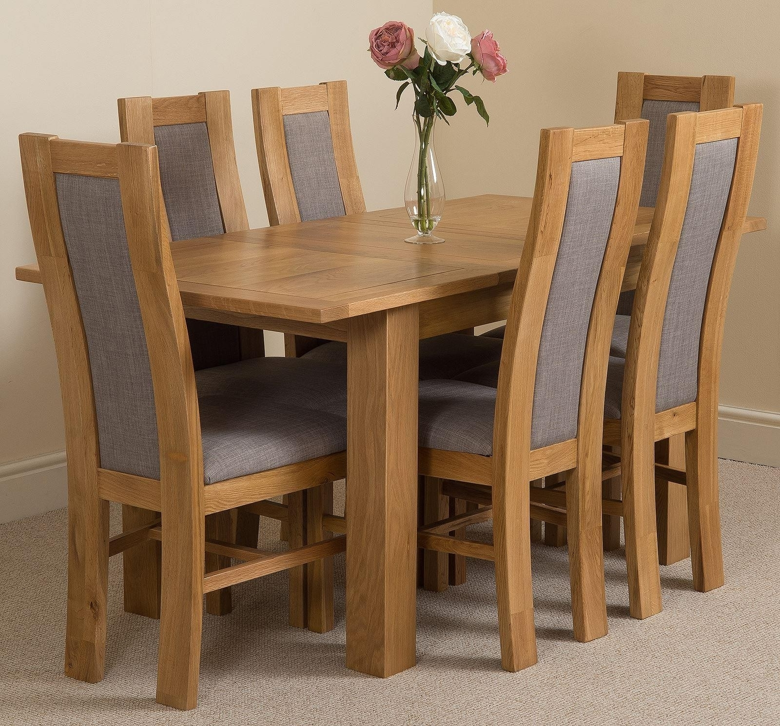 Oak Fabric Dining Chairs Throughout Most Recent Hampton Dining Set With 6 Stanford Chairs (View 12 of 25)