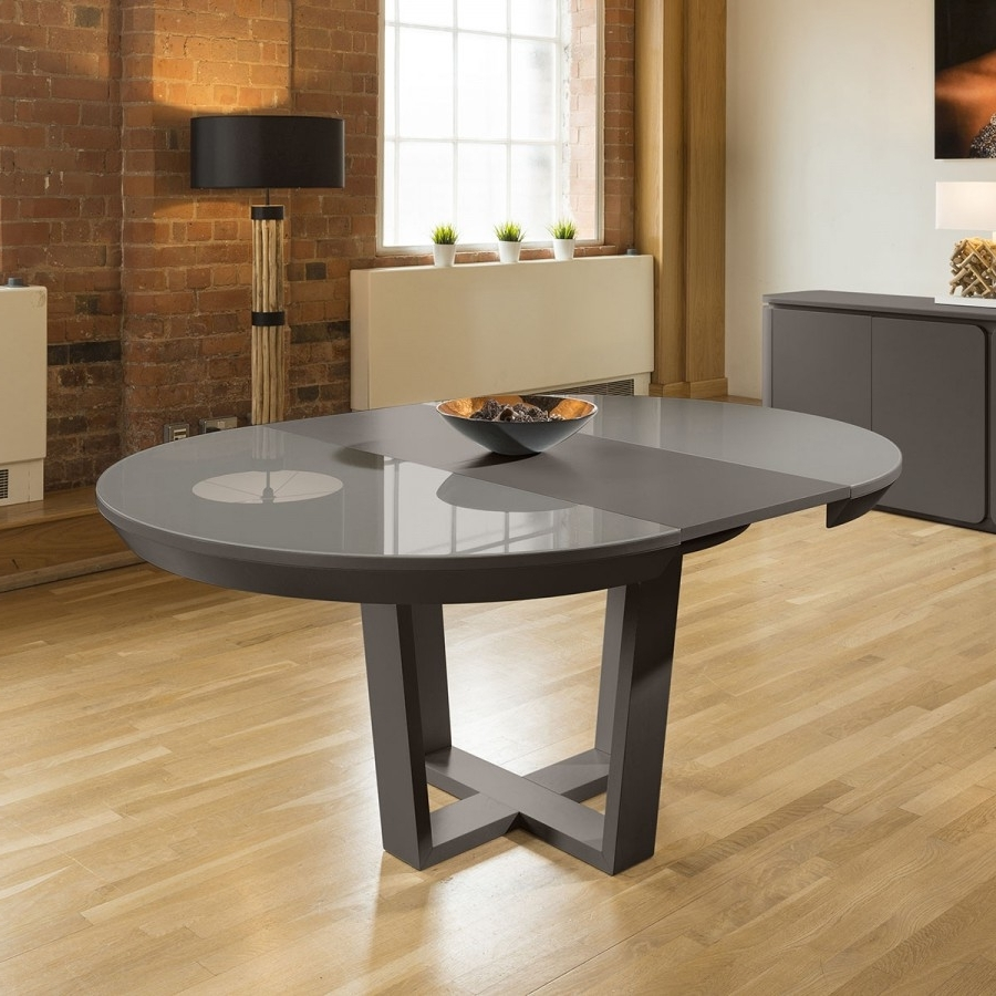 Oak Glass Dining Tables In Well Liked Quatropi Boston Large Round Extending Dining Table Grey Oak Glass (View 13 of 25)