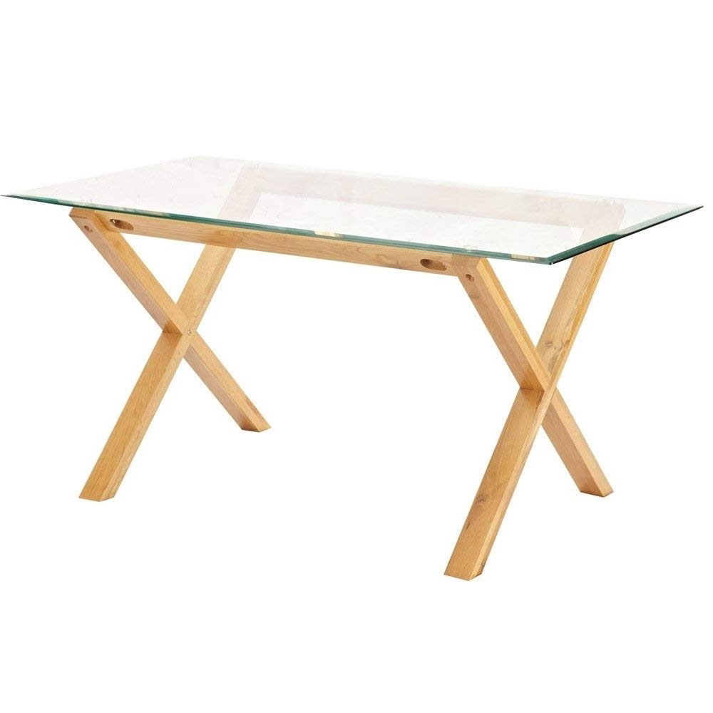 Oak Glass Top Dining Tables Regarding Best And Newest Lpd Furniture Cadiz Dining Table, In Oak & Clear Glass: Amazon.co (View 14 of 25)