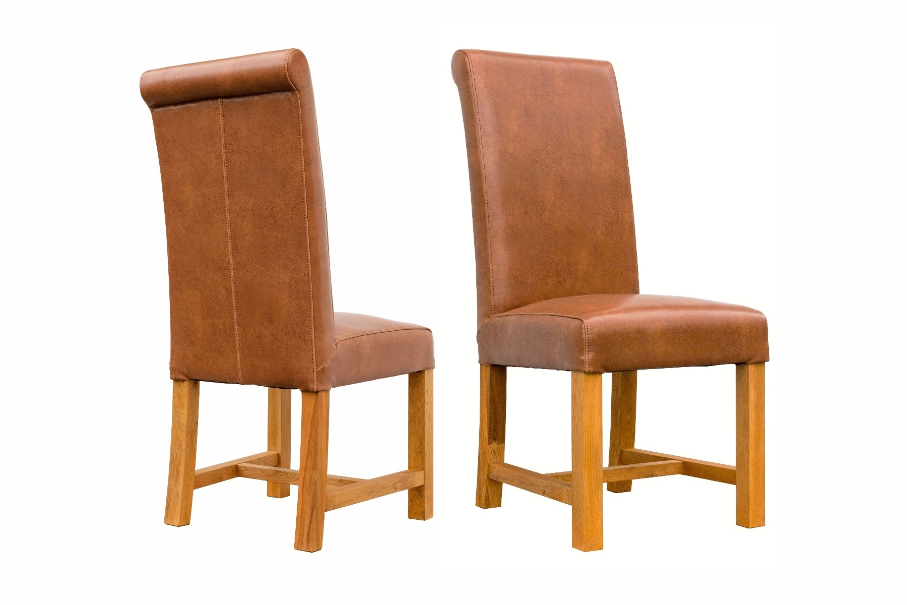 Oak Leather Dining Chairs For Trendy Buffalo Tan Brown Chunky Premium Leather Dining Chair Solid Oak Legs (View 9 of 25)
