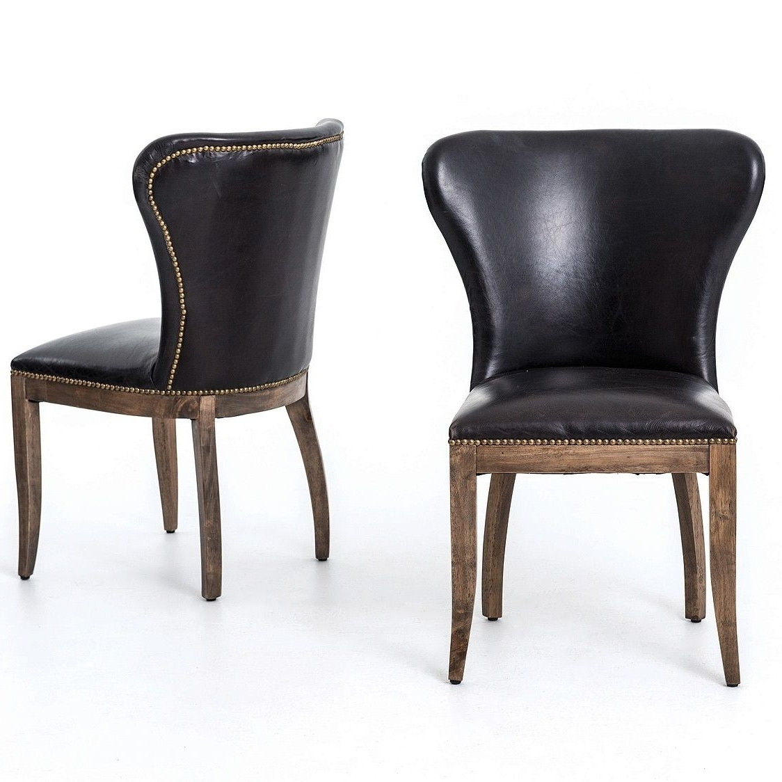 Oak Leather Dining Chairs Regarding Trendy Richmond Black Leather Wingback Dining Chair (View 20 of 25)