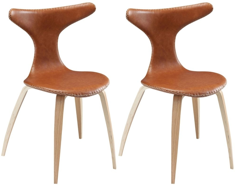Oak Leather Dining Chairs Throughout Newest Buy Dolphin Light Brown Leather Dining Chair Online (View 21 of 25)