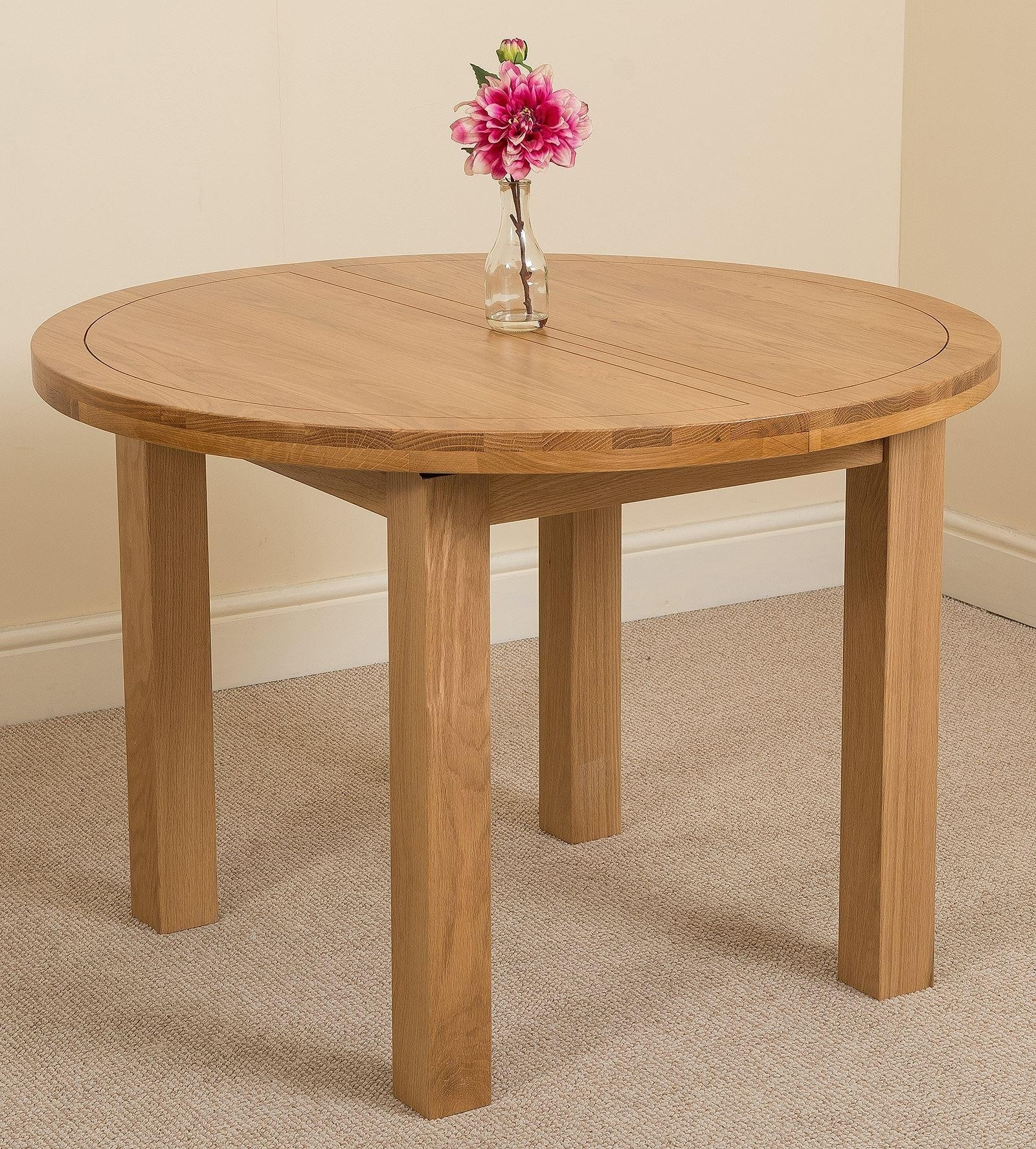Oak Round Dining Tables And Chairs Regarding Well Liked Edmonton Oak Extending Dining Table (View 24 of 25)