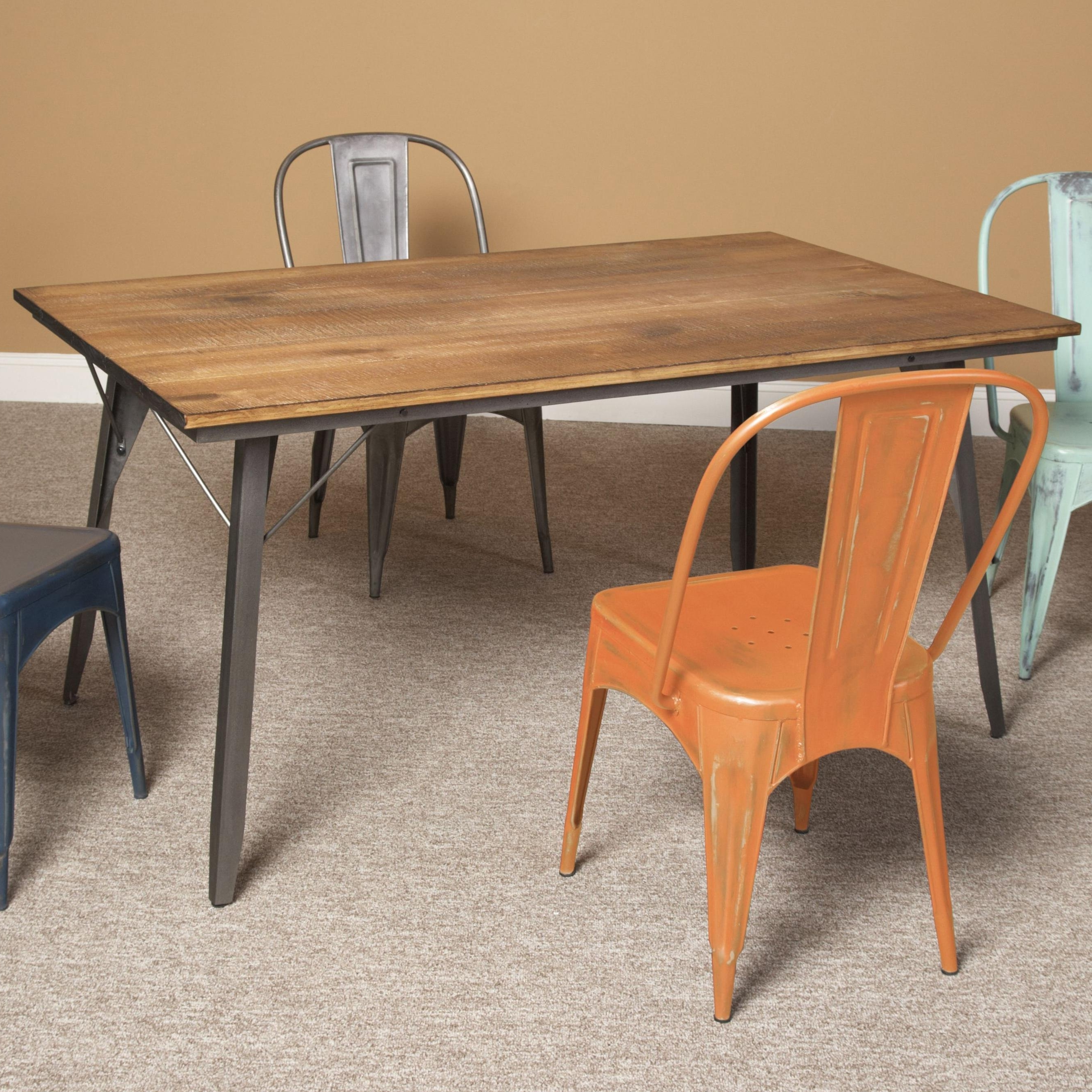 Olinde's Throughout Current Dining Tables With Metal Legs Wood Top (View 13 of 25)