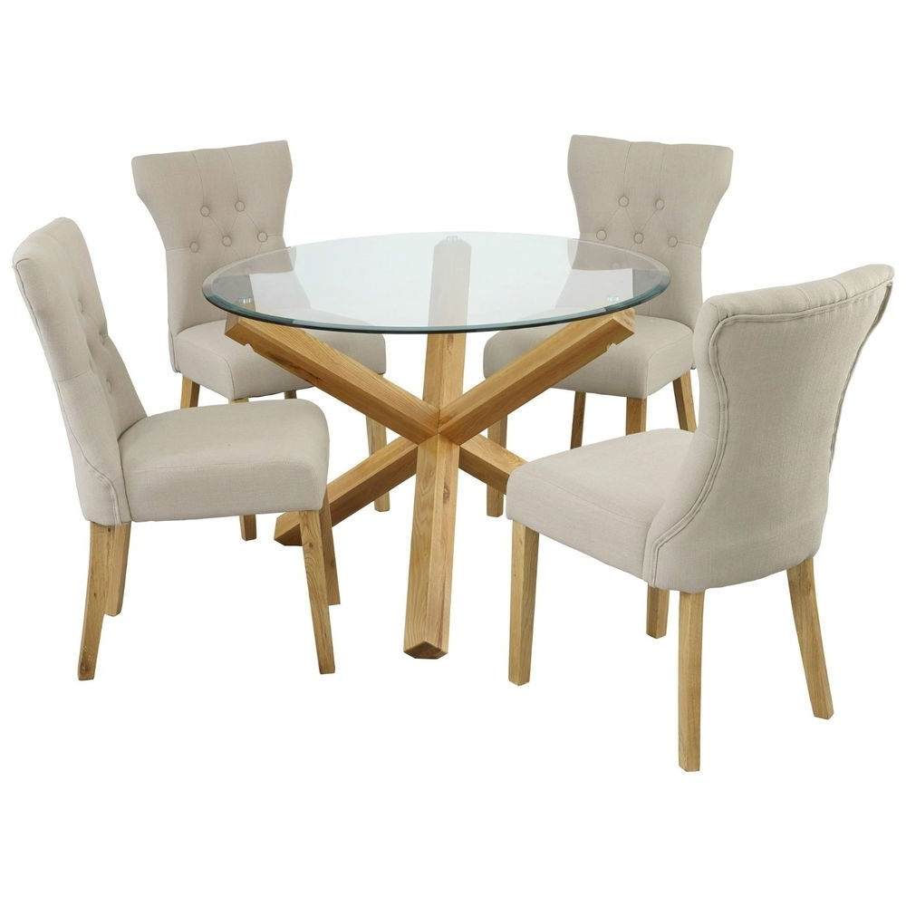 Oporto Saturn Solid Oak And Glass Dining Table Round: 107Cm Or 120Cm Within Well Known Oak And Glass Dining Tables And Chairs (View 20 of 25)