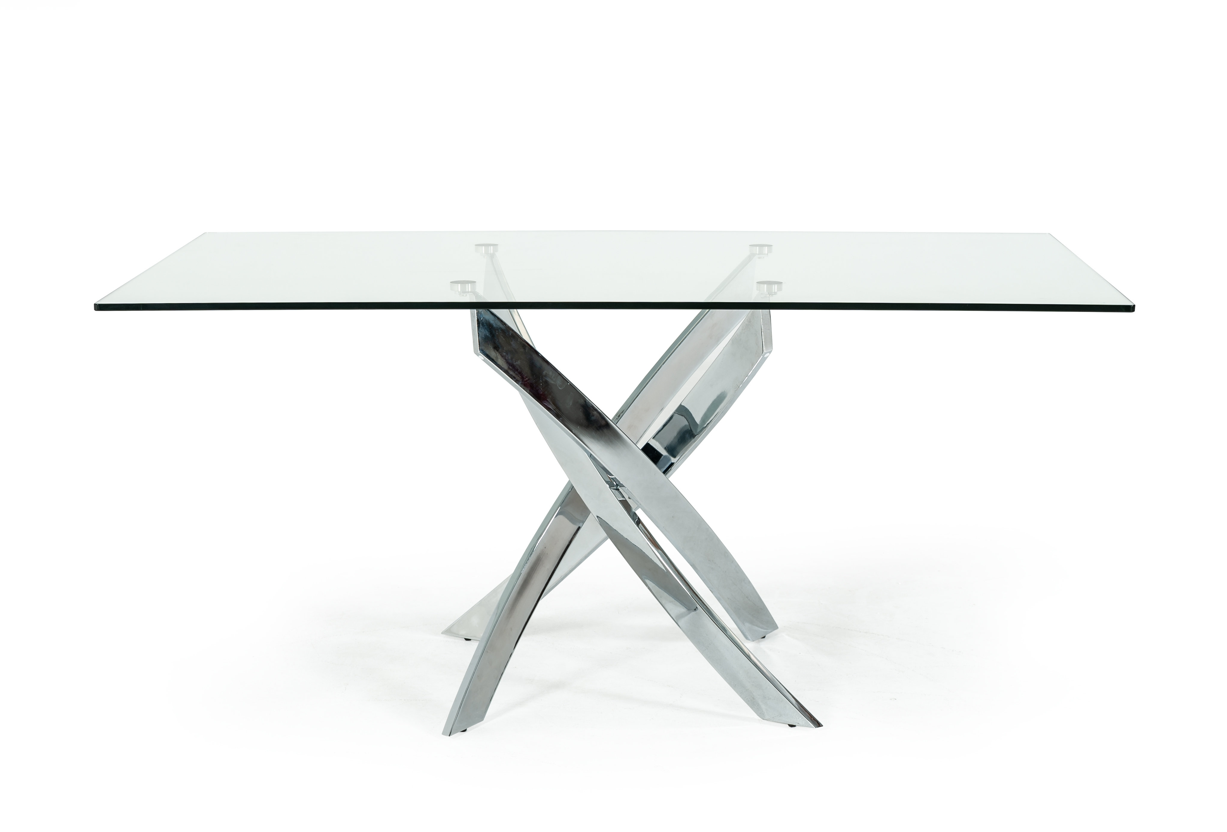 Orren Ellis Camron Modern Glass Top Metal Base Dining Table Throughout Most Current Norwood 6 Piece Rectangle Extension Dining Sets (View 19 of 25)
