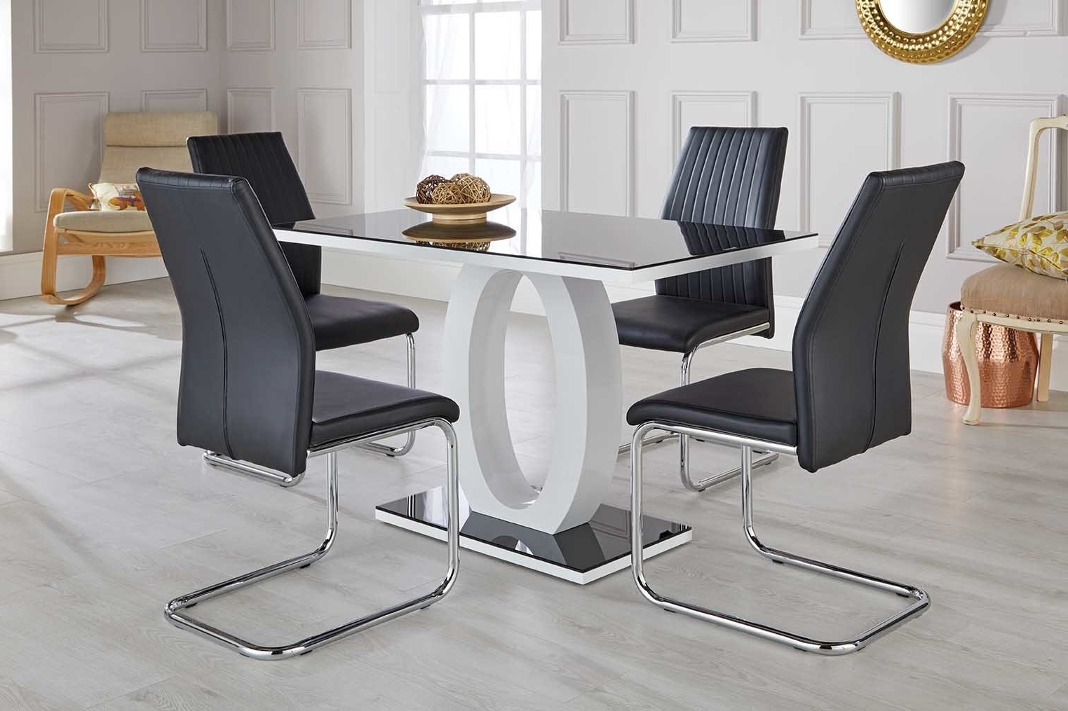 Orren Ellis Ramsel High Gloss Glass Dining Set With 4 Chairs Regarding Trendy Cheap Glass Dining Tables And 4 Chairs (View 15 of 25)