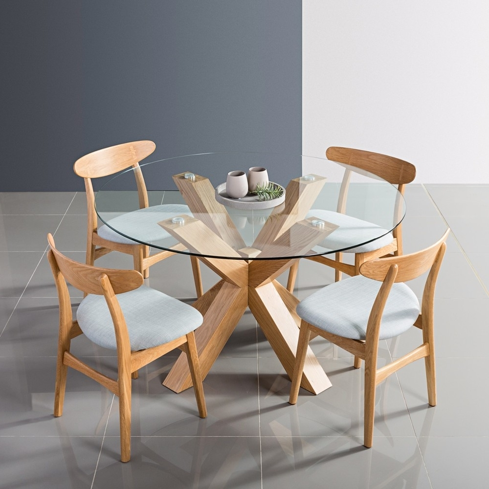 Oscar Round Dining Table – Glass + Solid Oak – 130Cm Diameter – Icon Intended For Current Round Glass And Oak Dining Tables (View 25 of 25)