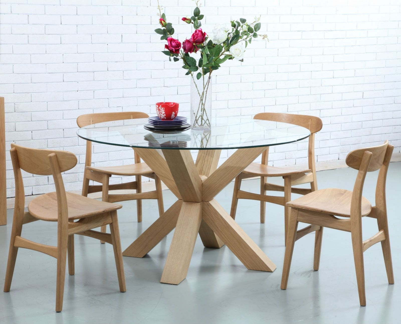 Oscar Round Dining Table – Glass + Solid Oak – 130Cm Diameter Intended For Best And Newest Oak And Glass Dining Tables (View 20 of 25)