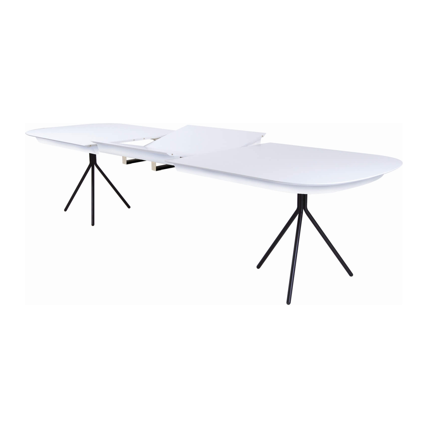 Otto Extendable Dining Table – White + Black – Zillo + Hutch Intended For Most Up To Date White Extendable Dining Tables (View 12 of 25)