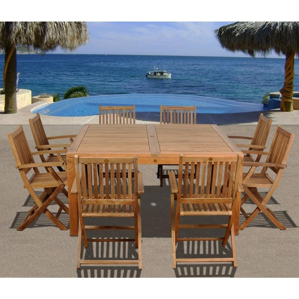 Outdoor Brasilia Teak High Dining Tables Regarding Most Recent Amazonia Dubai Square 9 Piece Teak Patio Dining Set (View 16 of 25)