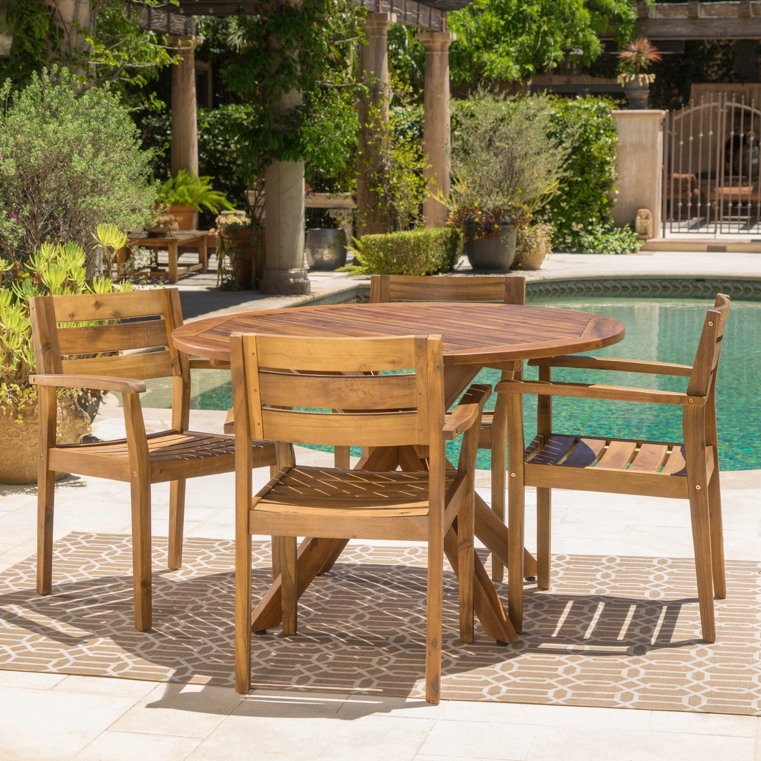 Outdoor Brasilia Teak High Dining Tables Regarding Newest Stamford Outdoor 5 Piece Round Acacia Wood Dining Setchristopher (View 13 of 25)
