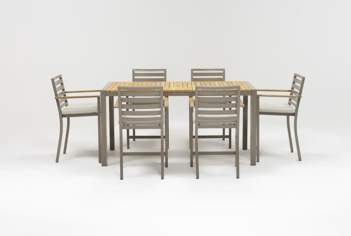 Outdoor Brasilia Teak High Dining Tables Throughout Well Known Outdoor Brasilia Teak 7 Piece High Dining Set (View 15 of 25)
