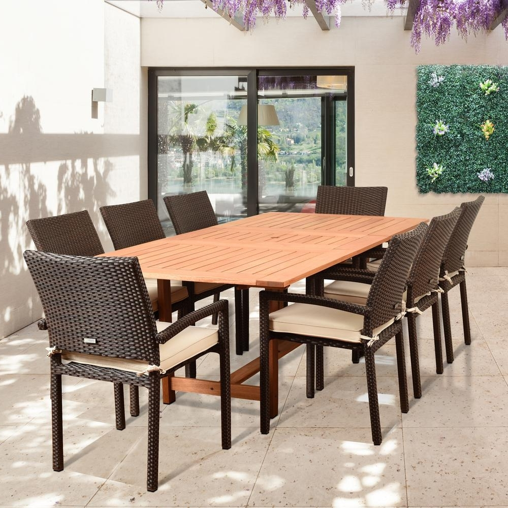 Outdoor Brasilia Teak High Dining Tables With Latest Amazonia Knight 9 Piece Teak/wicker Rectangular Outdoor Dining Set (View 16 of 25)
