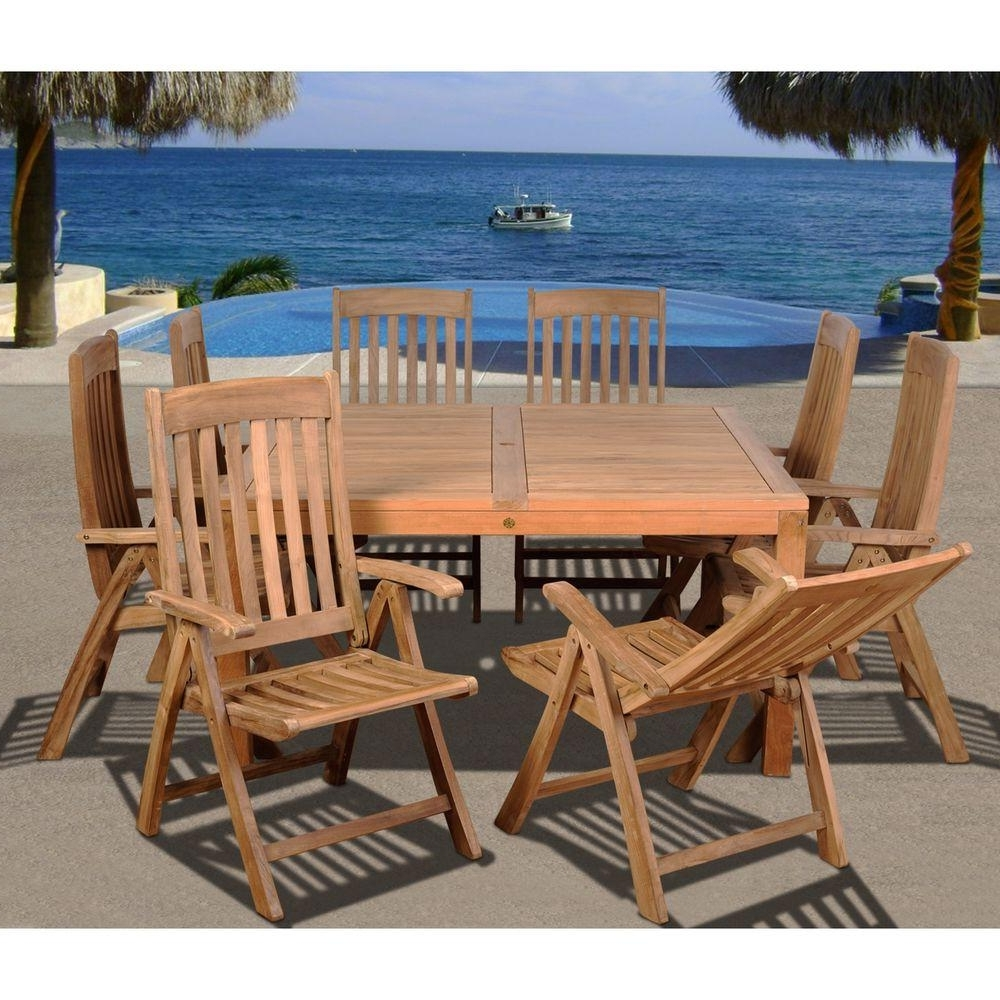 Outdoor Brasilia Teak High Dining Tables With Regard To Popular Amazonia Eiffel Square 9 Piece Solid Teak Patio Dining Set (View 17 of 25)