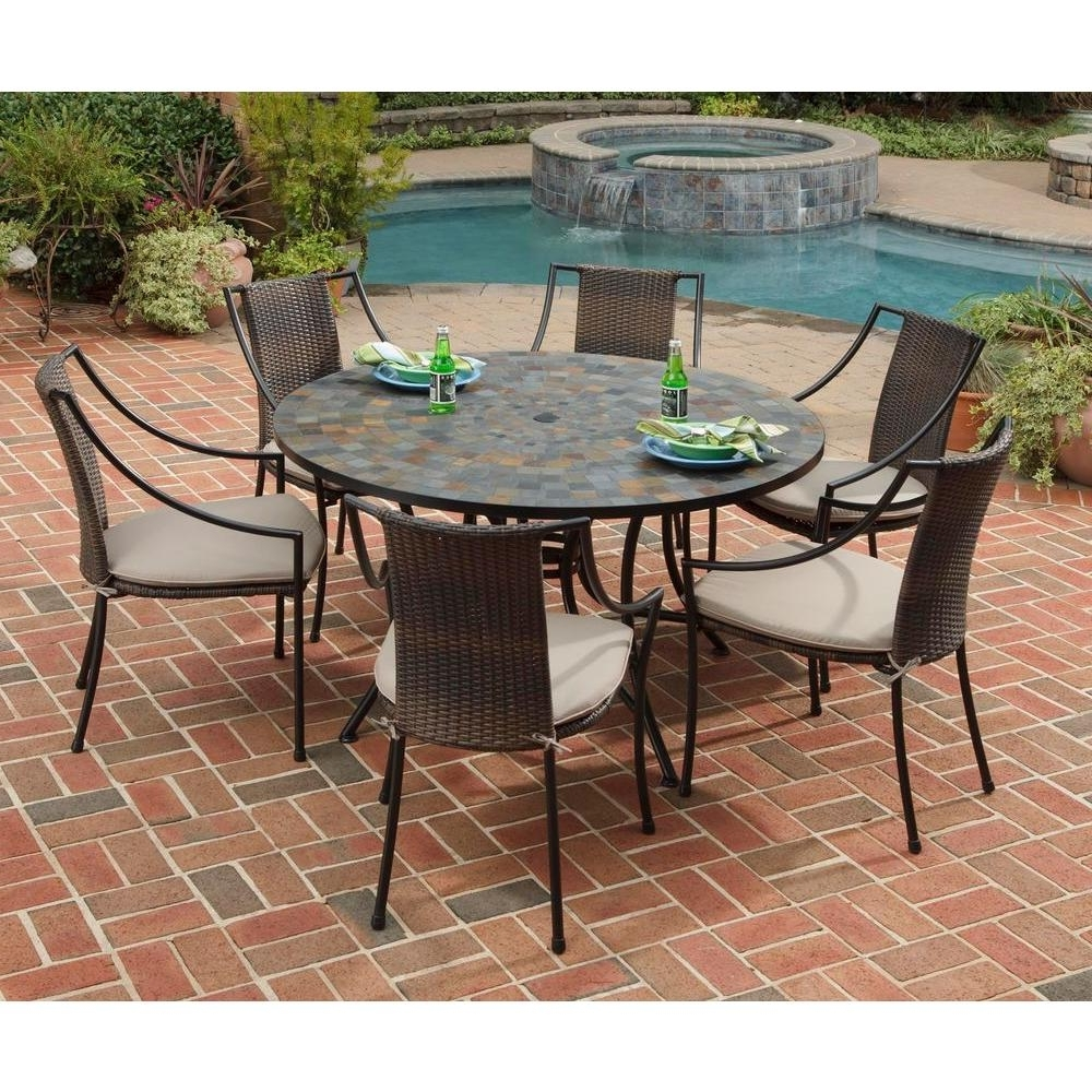 Outdoor Dining Table And Chairs Sets Inside Well Known Home Styles Stone Harbor 7 Piece Round Patio Dining Set With Taupe (View 15 of 25)