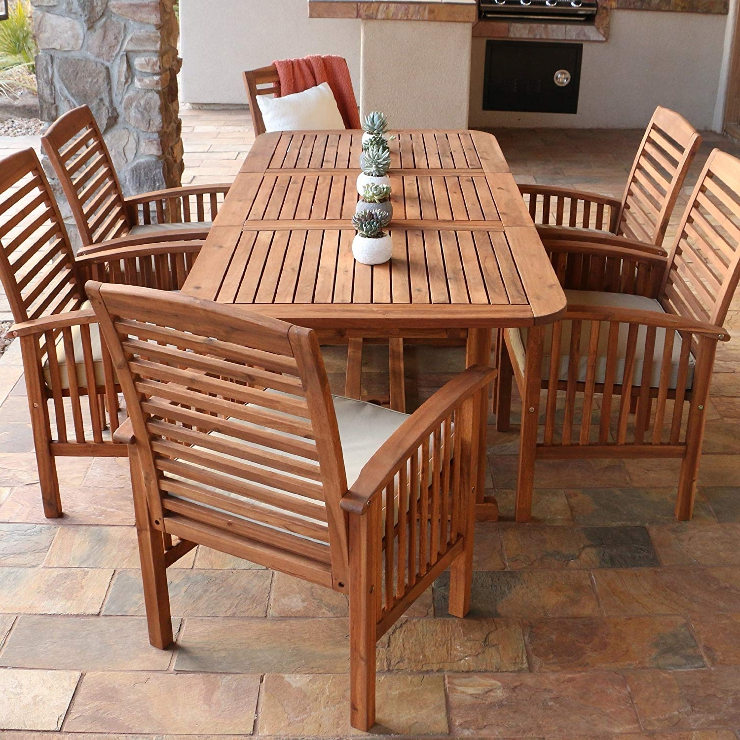 Outdoor Dining Table And Chairs Sets Pertaining To Well Liked Amazon: Walker Edison Solid Acacia Wood 7 Piece Patio Dining Set (View 14 of 25)