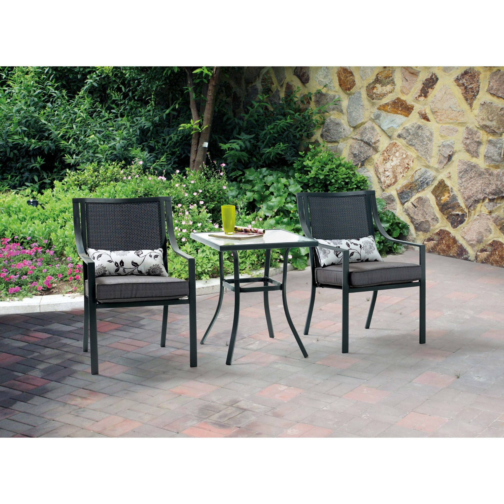 Outdoor Dining Table And Chairs Sets With Regard To Most Current Mainstays Alexandra Square 3 Piece Outdoor Bistro Set, Seats (View 22 of 25)