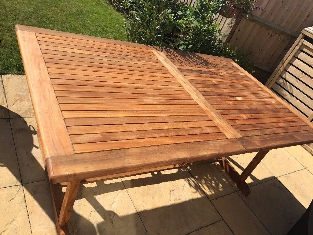 Outdoor Extendable Dining Tables With Regard To Preferred Roscana Wooden 6 Seater Extendable Outdoor Dining Table (View 9 of 25)