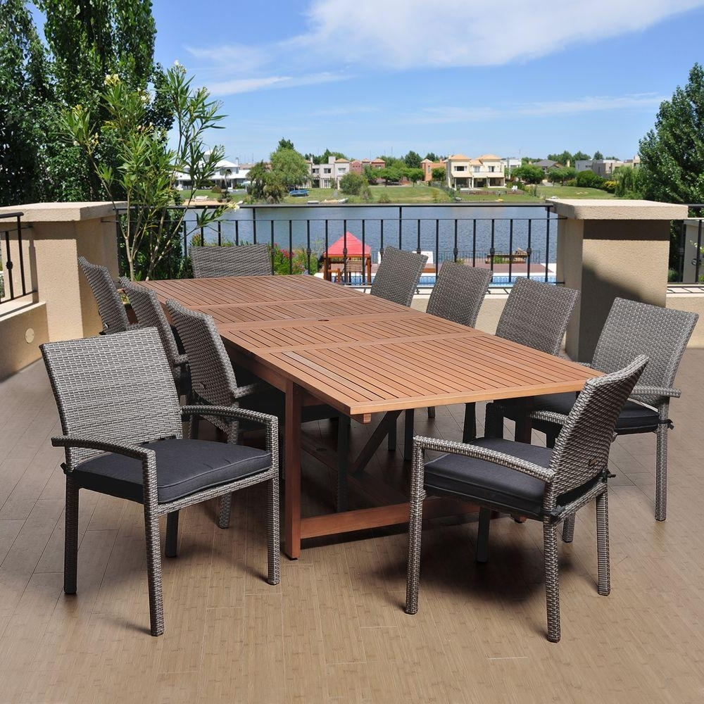 Outdoor Extendable Dining Tables Within Most Current Amazonia Jones 11 Piece Eucalyptus Extendable Rectangular Patio (View 9 of 25)