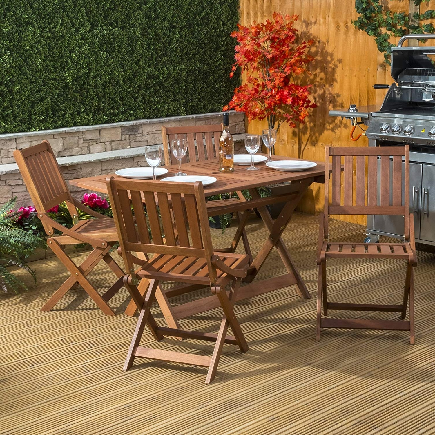 Outdoor Sienna Dining Tables Throughout Popular Alfresia Sienna Wooden Table And 4 Chair – Folding Garden & Patio (View 12 of 25)