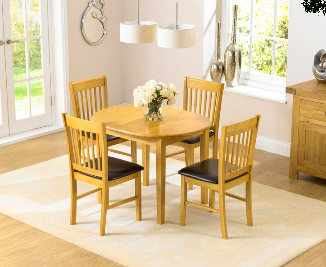 Oval Extending Dining Tables And Chairs Inside 2018 Amalfi Oak 107Cm Extending Dining Table And Chairs (View 2 of 25)