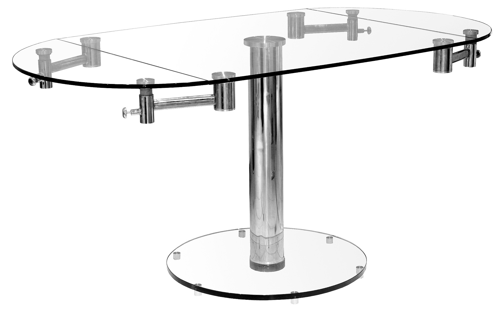 Oval Glass Extending Dining Table – Fw698 With Regard To Newest Oval Extending Dining Tables And Chairs (View 12 of 25)